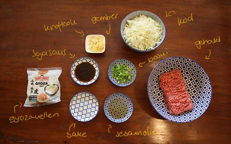 Ingrediënten voor gyoza